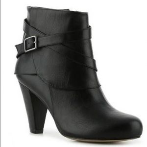 Madden Girl Black Buckle Ankle Booties